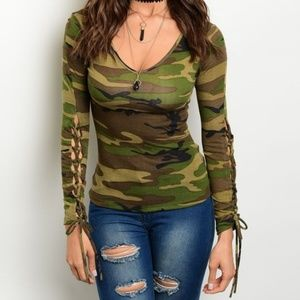 Tops - Camo Lace Up Sleeve Scoop Neck Jersey Knit Top